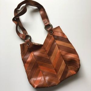 LUCKY BRAND | Brown Leather Patchwork Shoulder Bag